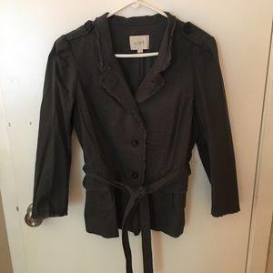 LOFT Gray/Blue Raw Hem Belted Jacket